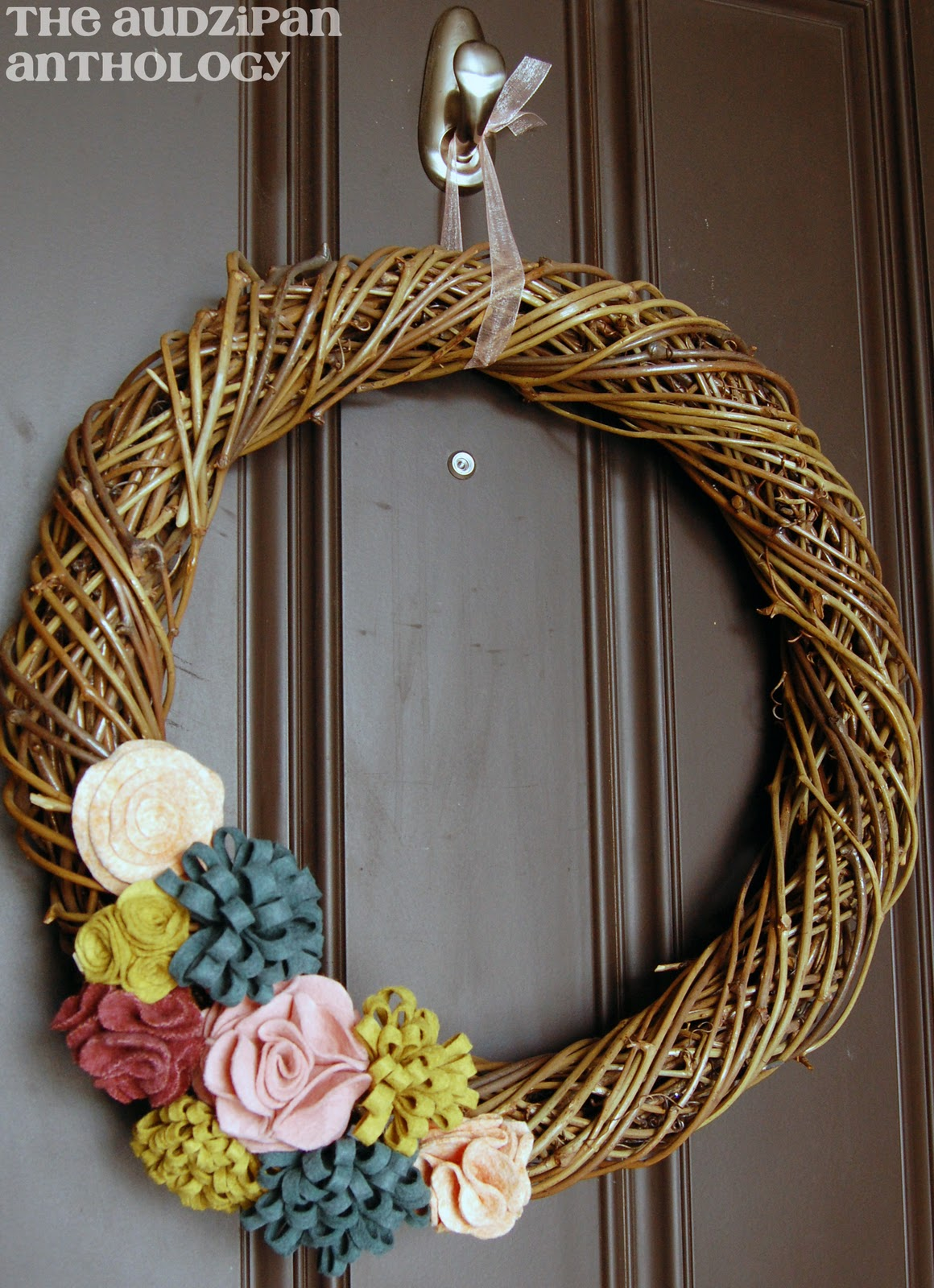 The Audzipan Anthology Felt Flower Grapevine Wreath