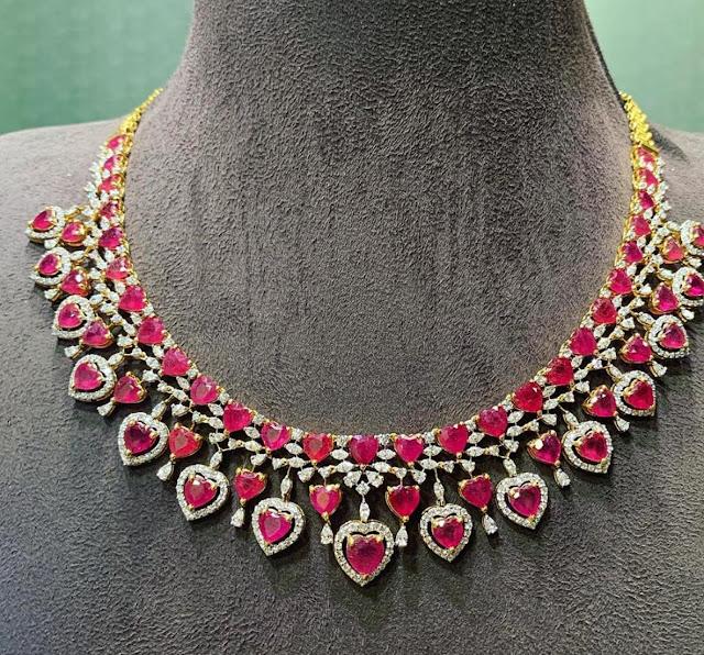 Ruby bridal chokers by Satyanarayana Jewellers