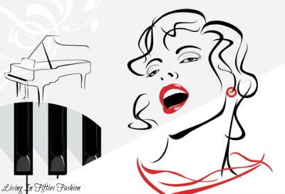 Illustration of Beautiful woman with red lips singing in front of a piano