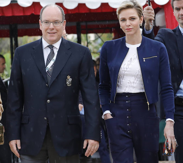 Prince Albert and Princess Charlene attended the awards ceremony of the Monte Carlo Rolex Masters