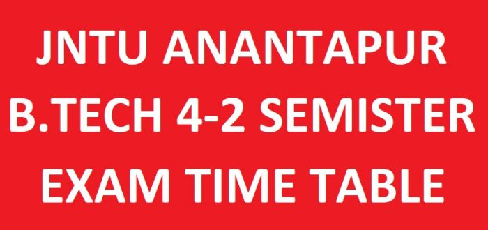 JNTUA B.Tech 4-2 Sem Regular/Supply Exam Time Table