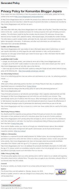 membuat laman privacy policy di blog