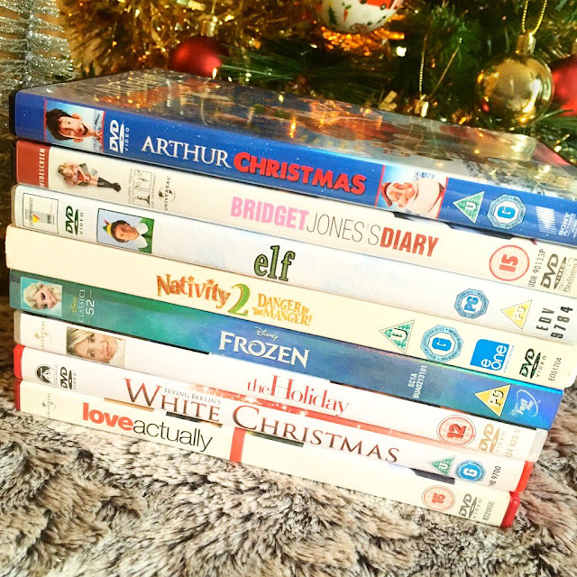 stack of Christmas DVDs