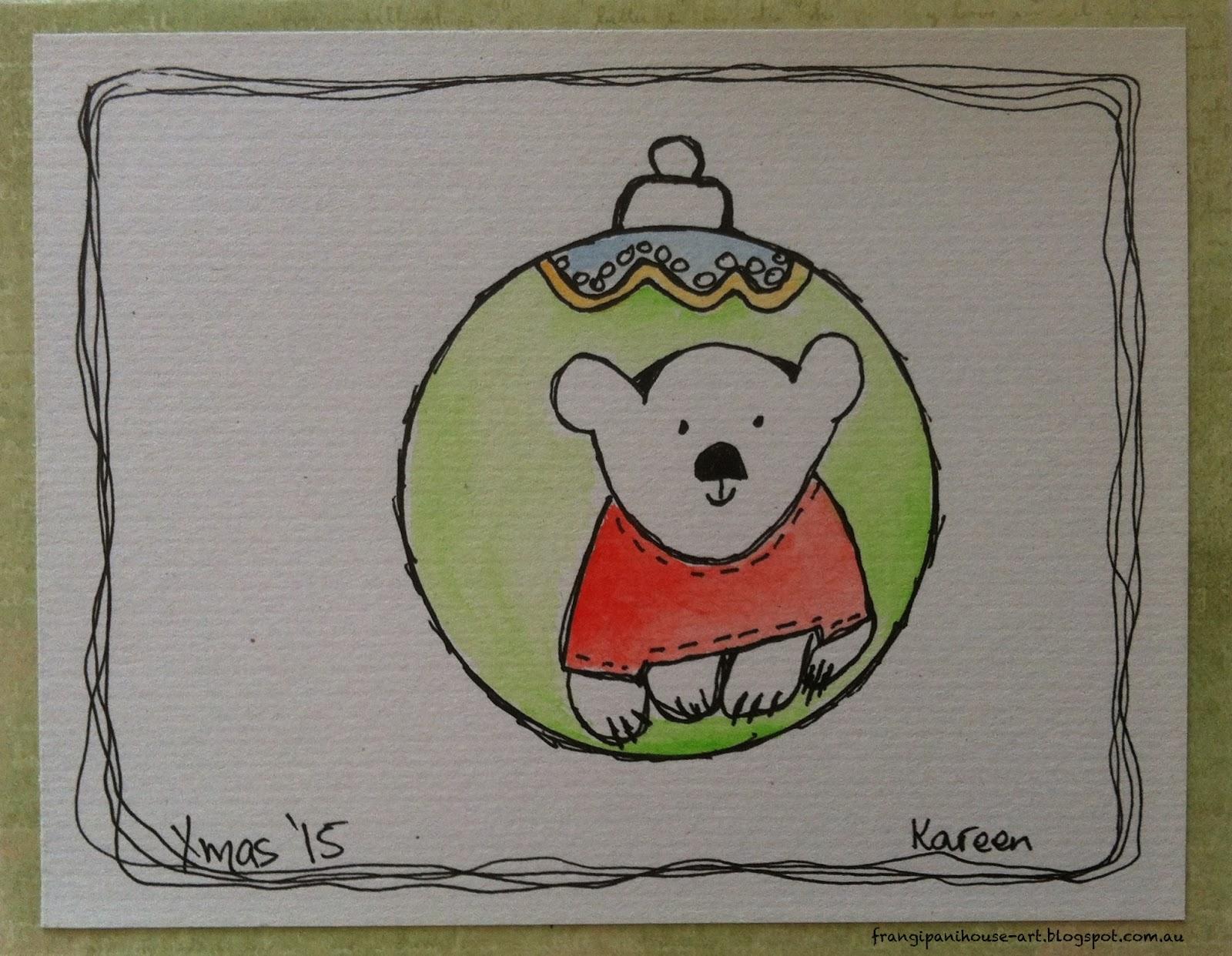 Frangipani House Art Studio Blog December 2 Xmas Bauble Bear Doodle