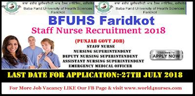 BFU Staff Nurse Recruitment 2018