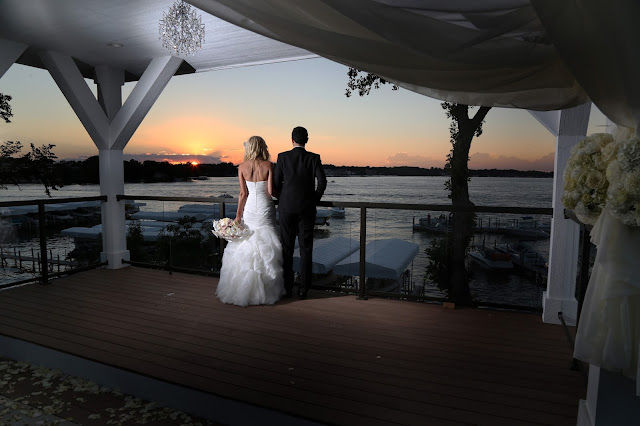 waterfront event center okoboji wedding at sunset