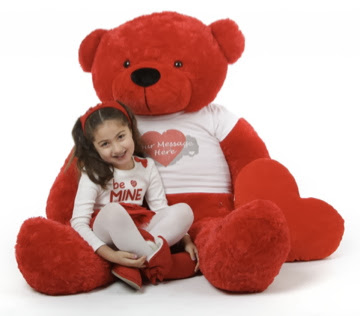 Red Bitsy Cuddles in one of our Personalized Shirts on Giant Teddy