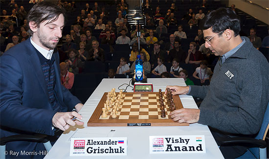 Ronde 6: Alexander Grischuk a remporté la seconde victoire de sa carrière face à Vishy Anand - Photo © Ray Morris-Hill