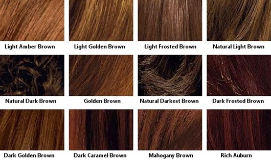 Different shades of brown hair color chart