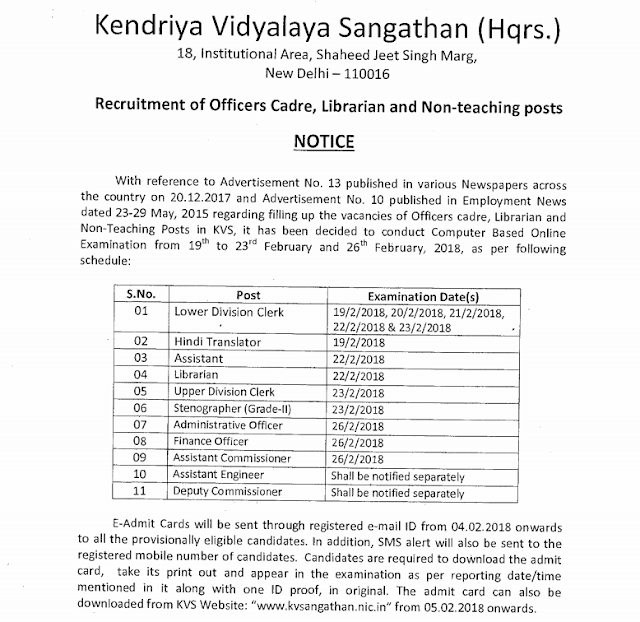 KVS Admit Card 2018 Released for LDC/UDC Non Teaching Posts