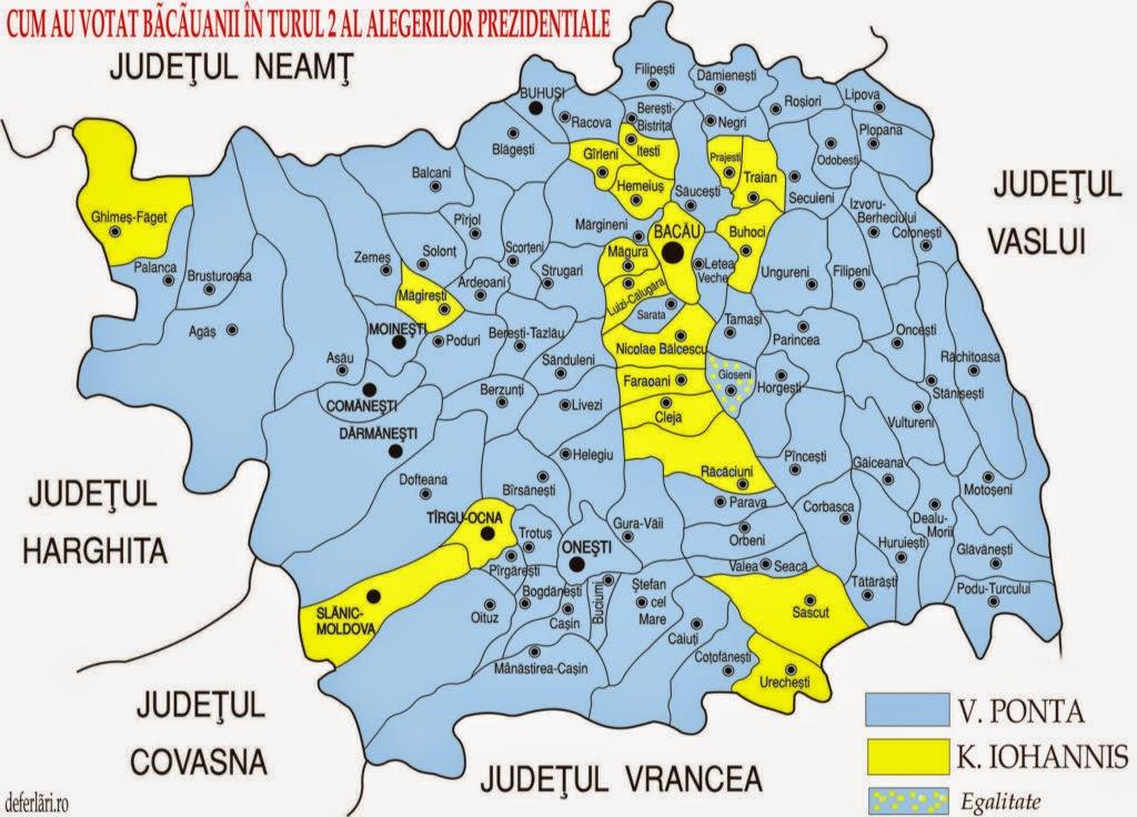 Deferlări Cum A Votat Judeţul Bacău Harta Electorală