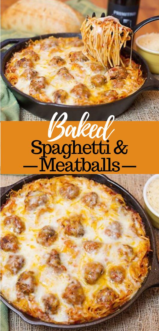 Baked Spaghetti & Meatballs #dinner