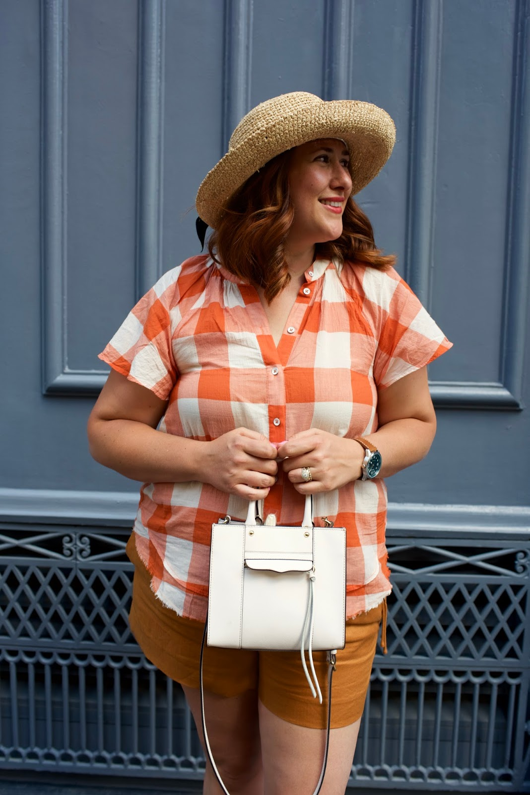 anthropologie, plaid, gingham, linen shorts j. crew, summer outfit for hot weather