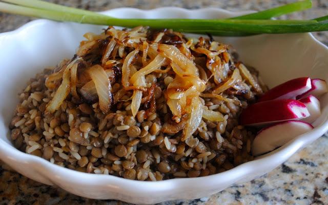 Mujadara is a meatless Lebanese dish made with lentils and rice Mujadara Recipe