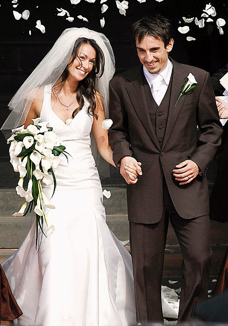 Red Carpet Wedding Gary Neville And Emma Hadfield Red