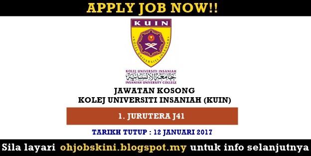 Jawatan Kosong Kolej Universiti Insaniah (KUIN)