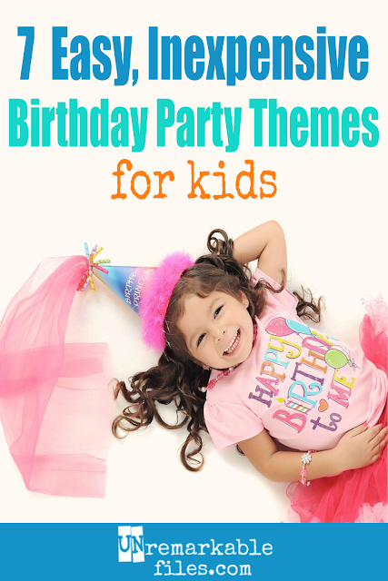 My kids love to celebrate their birthdays at a party with all their friends, but so many kids' birthday party ideas out there either cost way too much money or take way too much time. What ever happened to planning a simple party at home, in the backyard, or somewhere else on a budget? These 7 DIY themes and ideas for kids' birthdays are low-cost and low-prep, but still super-fun and the kids will never know the difference! #birthdayparty #kids