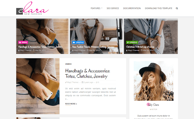 Clara is a responsive blogger subject amongst build clean  Free Download Clara Fashion Blogger Template