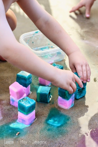 Summer fun with erupting ice chalk paint - sensory play to help you stay cool!