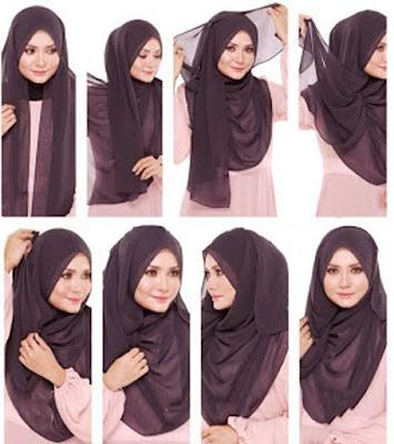 tutorial memakai jilbab segi empat paris hitam