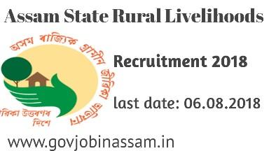 Assam State Rural Livelihoods Mission Society Recruitment  2018 apply online.