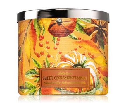 Lumânarea parfumată Bath & Body Works Sweet Cinnamon Pumpkin