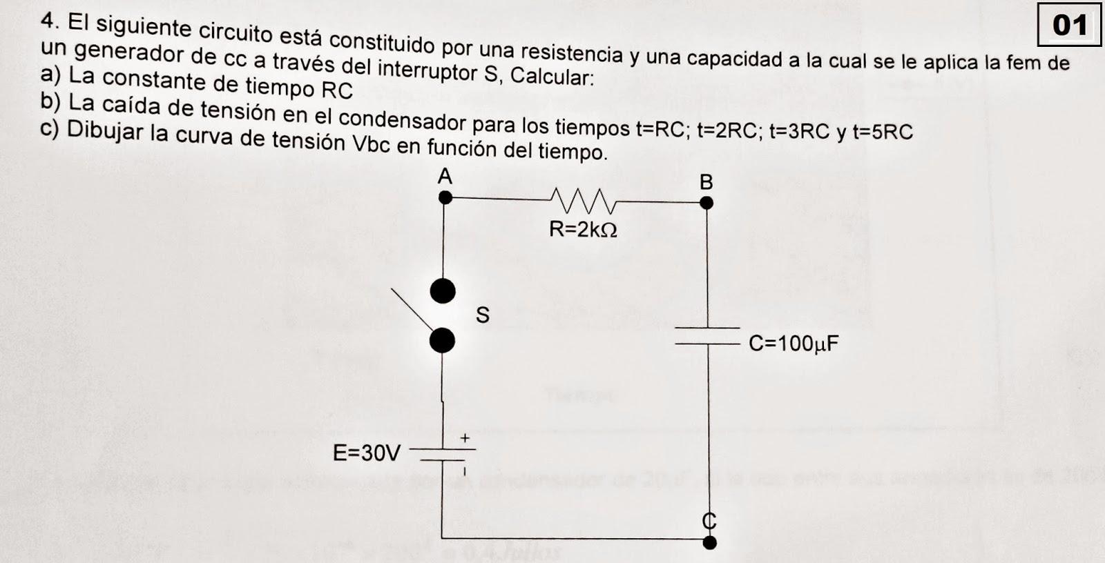 Circuito Rc : Ejercicios de carga y descarga de un condensador ~ preparaduría de