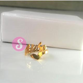 cincin nama lapis emas polos - adiba