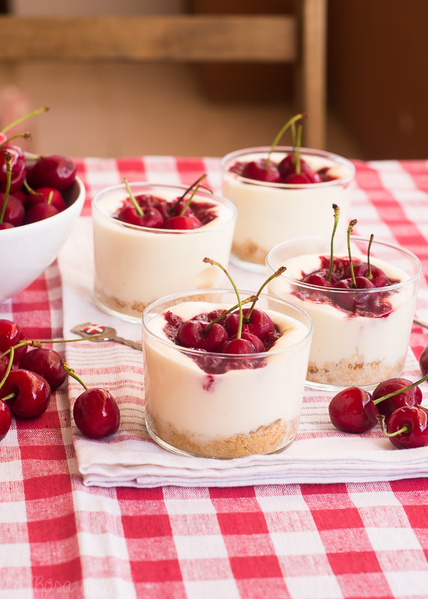 Vasitos de tarta de queso y cerezas #singluten #sinlactosa