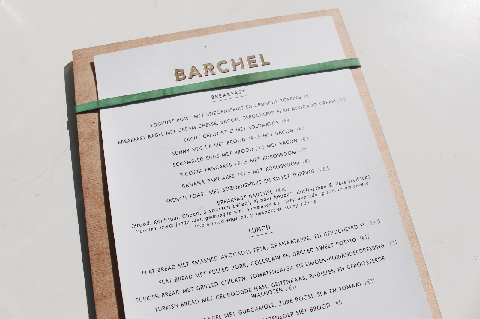 Barchel All Day Foodbar Brunch menu | Antwerp