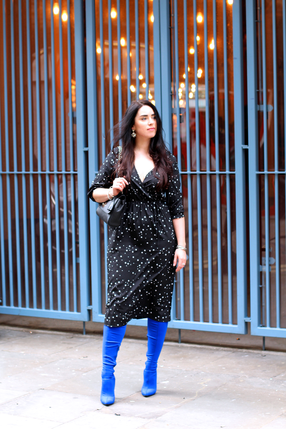 Emma Louise Layla in Boohoo star print dress and blue thigh high boots - London style blogger