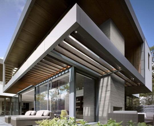 fasad rumah minimalis dengan paduan geometris terlihat luar biasa