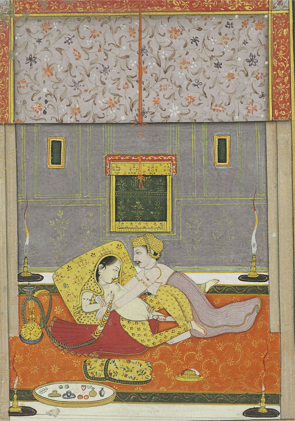 Couple Engaged in Lovemaking by Candlelight - Miniature Painting, North India, Probably Nurpur, Late 18th Century