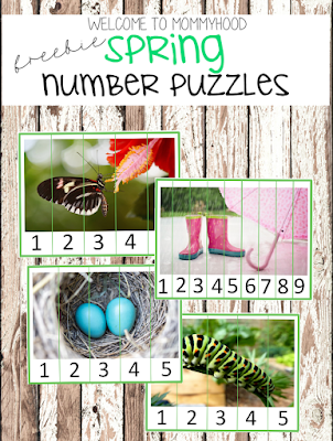 spring activities: free spring number puzzle printables by Welcome to Mommyhood #preschoolactivities, #montessoriactivities, #montessori, #homeschool, #springactivities