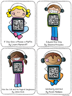 FREE QR code listening center: A student favorite and a fun, easy way to integrate technology (iPads) in your reading classroom! The QR codes link to videos of books being read aloud online via a safe website with no ads. Appropriate for kindergarten through upper elementary students. Find this and tons of other free ideas and activities for using QR codes in the elementary classroom on the iTeach 1:1 blog.