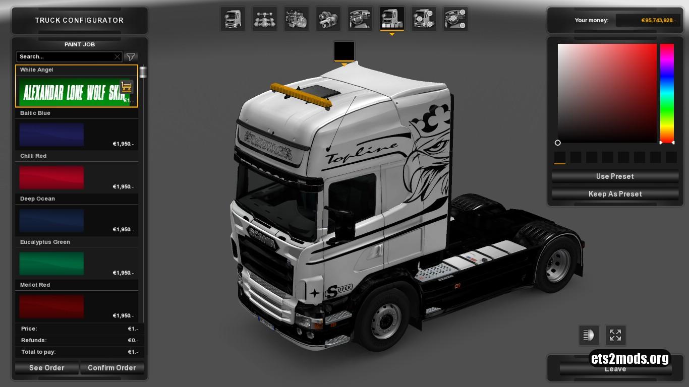 White Angel Skin for Scania RJL