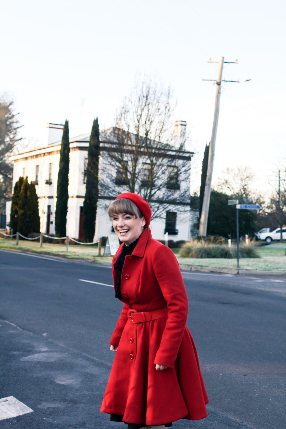 Liana of @findingfemme in a red review australia winter coat at Keebles Country House in Clunes, Victoria