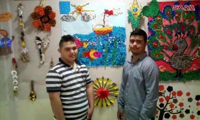 أعمال يدوية ولوحات فنية ضمن معرض طلاب معهد ذوى الاحتياجات الخاصة بالسويداء