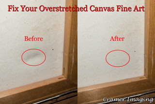 Cramer Imaging's graphic and photograph of before and after fixing overstretched canvas fine art using a fast DYI method