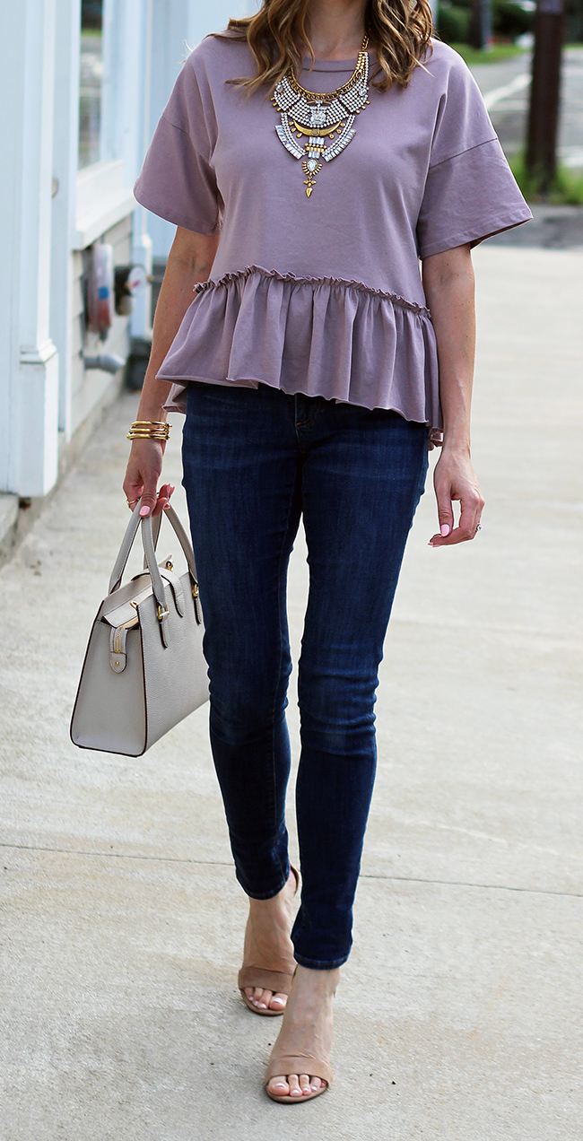 purple peplum top