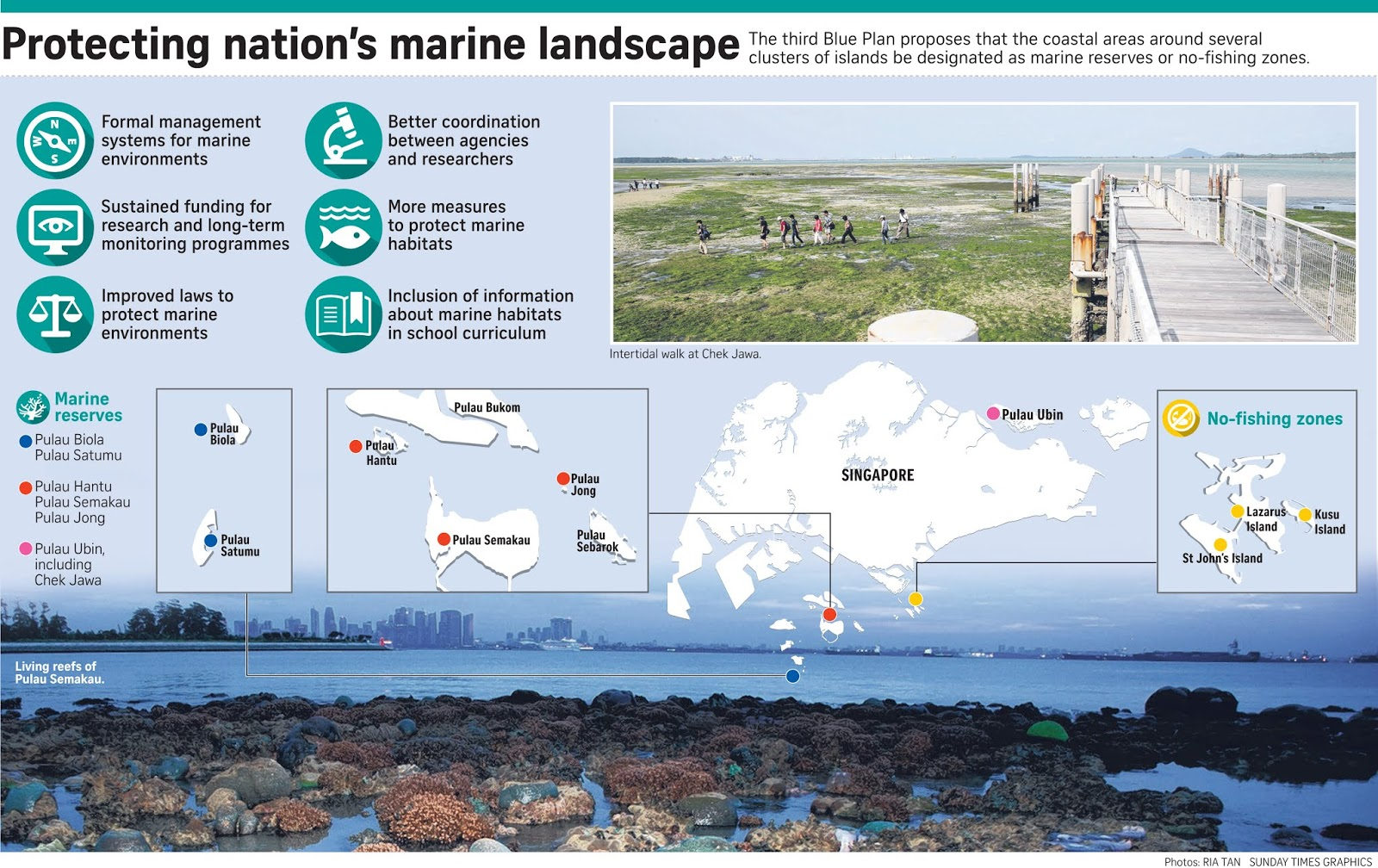 it also advocates better coordination between agencies and researchers further measures to protect singapore s remaining marine habitats and the inclusion