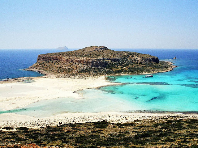 panoramic view of balos lagoon, crete, greece