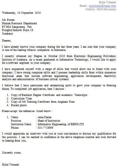 Contoh application letter teacher