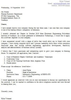 Contoh Surat Application Letter