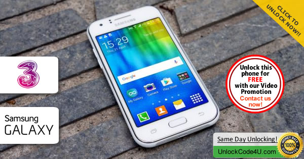 Factory Unlock Code Samsung Galaxy J1 from Three Network
