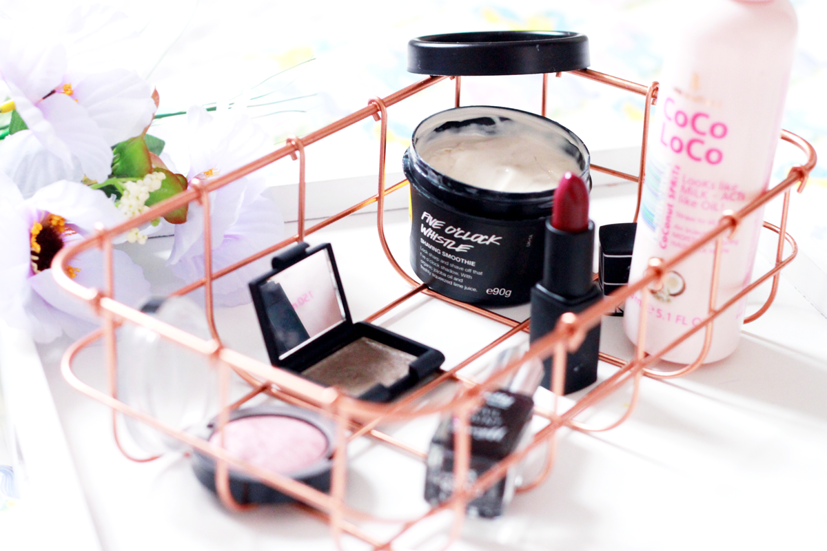 Monthly Favourites: Max Factor Creme Puff Blush, NARS Stud Eyeshadow, Lee Stafford CoCo LoCo, Barry M Gelly Black Grape, Lush Shaving Smoothie, NARS No Shame Lipstick