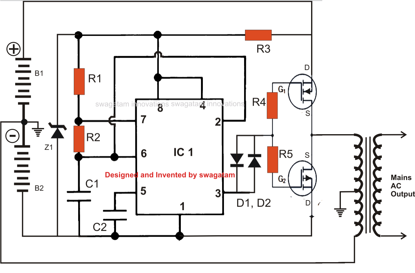 dc to ac inverter with ne555 circuit diagram world