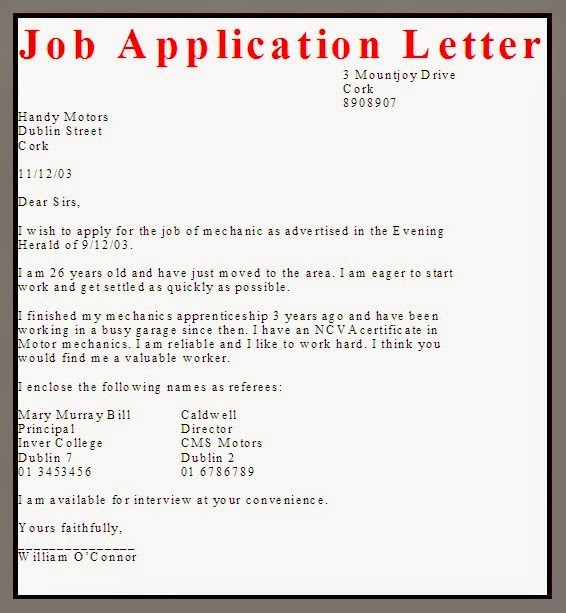 job application letter layout