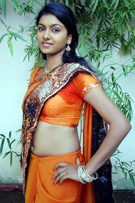 Latest Movies Gallery Akshida Hot Orange Blouse Navel