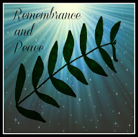An olive branch graphic with Remembrace and Peace text.